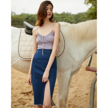 skirt Summer of 2019 150/60A 155/64A 160/68A 165/72A Wash water blue Mid length dress Versatile Natural waist Denim skirt Solid color Type H 25-29 years old MS-17Q044 71% (inclusive) - 80% (inclusive) Denim Mix Selection cotton Kapok 78% others 22% Pure e-commerce (online only)