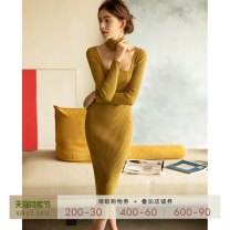 Dress Spring 2020 Mustard yellow XS S M L longuette singleton  Long sleeves commute square neck High waist Solid color Socket One pace skirt routine Others 30-34 years old T-type Mix Selection Retro AW19Q106 31% (inclusive) - 50% (inclusive) knitting cotton Cotton 50% other 50%