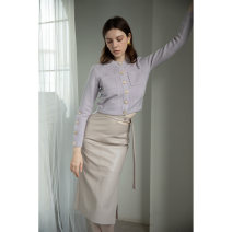 skirt Winter 2020 XS S M L High grade grey Mid length dress Versatile High waist skirt Solid color T-type 30-34 years old More than 95% other Mix Selection other pocket PU Exclusive payment of tmall