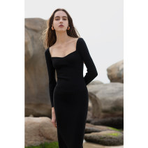 Dress Spring 2021 Black Medium apricot XS S M L Mid length dress singleton  Long sleeves commute square neck High waist Solid color Socket other routine Others 30-34 years old T-type Mix Selection Simplicity thread AW20Q122-B 51% (inclusive) - 70% (inclusive) knitting acrylic fibres