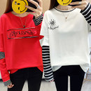 T-shirt M L XL 2XL Autumn of 2019 Long sleeves Crew neck Fake two pieces Regular routine commute polyester fiber 51% (inclusive) - 70% (inclusive) 18-24 years old Korean version originality Ma Lian 1522dapeiqFLp 3D printing stitching three-dimensional decorative embroidery patch