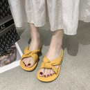 slipper 35 36 37 38 39 40 Move your feet Yellow blue off white Flat heel Low heel (1-3cm) PU Spring 2021 rubber daily Korean version Youth (18-40 years old) Solid color bow nnj5111 PU PU Pure e-commerce (online only)