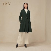 Windbreaker Autumn of 2018 S M L XL Black A2 dark green A3 Long sleeves routine Medium length commute Frenulum tailored collar Solid color Self cultivation OVV GWFAJ38102A 35-39 years old 51% (inclusive) - 70% (inclusive) polyester fiber polyester fiber polyester fiber Polyester 53% cotton 47%