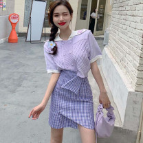 Women's large Summer 2020 Blue shirt + plaid skirt purple sweater + plaid skirt S M L XL Other oversize styles Two piece set commute moderate Socket Short sleeve other routine L1029 Ze Mengyun 18-24 years old Other 100% Pure e-commerce (online only)