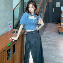 Fashion suit Summer 2020 S M Driving skirt denim top 18-25 years old Mushiti SS9691# Polyester 100% Pure e-commerce (online only)