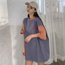 T-shirt Grayish blue brown light grey M L XL Spring 2020 Short sleeve Crew neck easy Regular routine commute polyester fiber 51% (inclusive) - 70% (inclusive) 18-24 years old Korean version youth Color matching of letters Mushiti XLJ891* printing Pure e-commerce (online only)