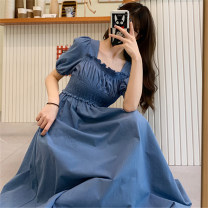 Dress Summer 2020 Dark blue light blue Average size Mid length dress singleton  Short sleeve commute square neck High waist Solid color Socket other other Others Under 17 Type A Mushiti Retro DL1981# More than 95% other polyester fiber Polyester 100% Pure e-commerce (online only)