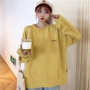 Sweater / sweater Autumn of 2019 Medium yellow light rose red M L XL Long sleeves routine Socket singleton  Thin money Crew neck easy commute routine letter 18-24 years old 51% (inclusive) - 70% (inclusive) Mushiti Korean version polyester fiber XM6038* Embroidery Pure e-commerce (online only)