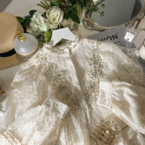 Lace / Chiffon Spring 2021 Apricot white Average size Long sleeves commute Socket singleton  Straight cylinder Regular stand collar Solid color Ituri Lace with diamond studded lace Other 100%