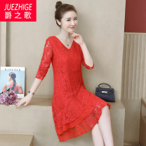 Women's large Autumn of 2019 Red and black L XL 2XL 3XL 4XL 5XL Dress singleton  commute easy moderate Socket Long sleeves Solid color Korean version Crew neck Medium length Polyester others Three dimensional cutting routine JZG908935 The song of nobility 40-49 years old Lace stitching Medium length
