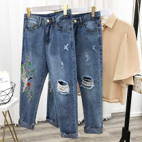 Jeans Autumn 2020 blue L trousers High waist Straight pants routine 18-24 years old washing Cotton denim light colour