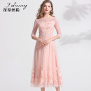 Dress Winter of 2019 Pink S M L XL XXL 3XL longuette singleton  three quarter sleeve commute Crew neck middle-waisted Solid color Big swing routine 30-34 years old Type A FADRESSONG lady Embroidered Beaded yarn mesh zipper lace and diamond FDS091166 More than 95% nylon Polyamide fiber (nylon) 100%