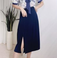 skirt Summer 2020 S,M,L Black, white, precious blue Mid length dress commute High waist A-line skirt Solid color Type A 25-29 years old TBK-006 81% (inclusive) - 90% (inclusive) brocade Tailorlady Cellulose acetate Fringes, asymmetry, stitching Simplicity