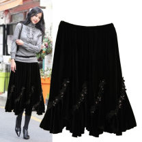skirt Winter 2020 Average size Middle-skirt Versatile Splicing style Solid color