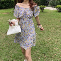 Dress Summer 2020 Purple flower, big Daisy S, M Mid length dress singleton  Short sleeve commute V-neck High waist Decor Socket A-line skirt routine Others 18-24 years old Type A Other / other Korean version Broken flowers 9372# 51% (inclusive) - 70% (inclusive) Chiffon other