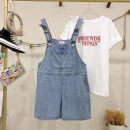 Jeans Summer 2021 Pant High waist rompers routine 25-29 years old Multiple pockets Cotton denim light colour 96% and above M size is recommended to be within 110 Jin, L size is recommended to be within 125 Jin Blue pre sale