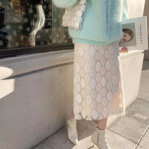 skirt Winter of 2019 XS,S,M Milky white Mid length dress commute High waist other Solid color Other / other other Korean version