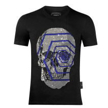 T-shirt Fashion City black thin 170(M),175(L),180(XL),185(XXL),190(3XL) Piplan Short sleeve Crew neck standard Other leisure summer routine tide 2021 skull Hot drilling Creative interest No iron treatment