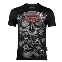 T-shirt Fashion City black thin 170(M),175(L),180(XL),185(XXL),190(3XL) Piplan Short sleeve Crew neck Self cultivation Other leisure summer youth routine tide 2020 skull Hot drilling Creative interest No iron treatment