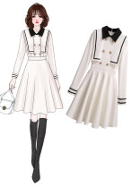 Dress Spring 2021 White, black M,L,XL,2XL,3XL,4XL Middle-skirt singleton  Long sleeves commute stand collar zipper routine Others other