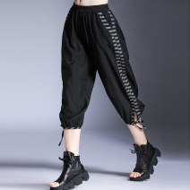 Casual pants Black, green M,L,XL Summer 2020 Ninth pants Wide leg pants Natural waist street Thin money 96% and above Honey management other pocket Europe and America