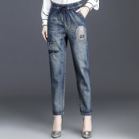 Middle aged and old women's wear Autumn of 2019 Blue, blue-3 M,L,XL,2XL,3XL,4XL,5XL leisure time Jeans easy singleton  letter 40-49 years old moderate JF18635-1 occasionally Embroidery cotton 81% (inclusive) - 90% (inclusive) trousers