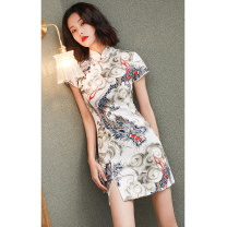 cheongsam Summer of 2019 M L XL XXL S White Dragon Short sleeve Short cheongsam literature Low slit daily Oblique lapel Decor 18-25 years old Piping American Latin other Other 100% Pure e-commerce (online only)