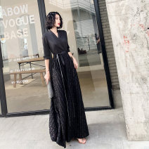 Dress / evening wear The company's annual convention performs daily appointments S M L XL XXL 081 black long 206 Black Medium Long 100 black tassel grace longuette middle-waisted Autumn of 2019 A-line skirt Deep collar V Deep V style 18-25 years old FYL081 Short sleeve Embroidery Solid color Fayunlai