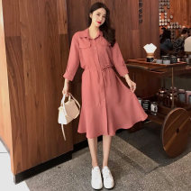 Dress Summer 2021 Pink, black S,M,L,XL,2XL,3XL longuette singleton  Long sleeves commute Polo collar Solid color Single breasted A-line skirt shirt sleeve Type A Korean version Lace, pocket, lace, button, 3D 51% (inclusive) - 70% (inclusive) other polyester fiber