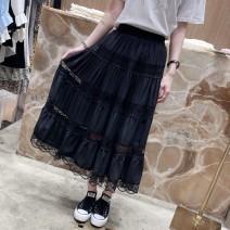 skirt Spring 2021 One size fits all (waist 58-100, length 78) White, black