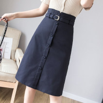skirt Summer of 2019 S M L XL 2XL Navy apricot Middle-skirt Versatile High waist A-line skirt Solid color Type A 25-29 years old More than 95% other Zhendiya other Other 100% Pure e-commerce (online only) 201g / m ^ 2 (including) - 250G / m ^ 2 (including)