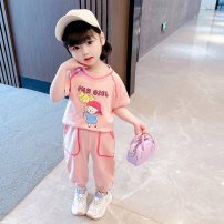 suit Bao Xiaoxi Purple, pink, beige 90cm,100cm,110cm,120cm,130cm female summer leisure time Short sleeve + pants 2 pieces There are models in the real shooting Socket nothing cotton children Giving presents at school Class B Cotton 90% other 10%