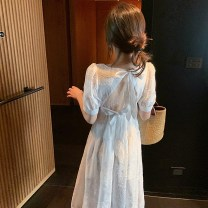 Dress Summer 2020 White skirt S M L XL Mid length dress singleton  Short sleeve commute square neck High waist Solid color Socket A-line skirt puff sleeve Others 18-24 years old The lotus Korean version 71% (inclusive) - 80% (inclusive) polyester fiber Polyester 80% other 20%