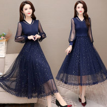 Dress Spring 2021 Blue, red, black M L XL 2XL 3XL Mid length dress Long sleeves commute V-neck Dot Big swing routine Others 40-49 years old Just beautiful ZPL-1853 More than 95% polyester fiber Other polyester 95% 5% Pure e-commerce (online only)