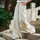 Casual pants S M L Summer 2020 trousers loose  low-waisted commute routine 51% (inclusive) - 70% (inclusive) Kuxiansen hemp Retro pocket hemp PU