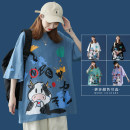T-shirt White black green blue purple M L XL 2XL Summer 2021 Short sleeve Crew neck easy Regular routine commute cotton 96% and above 18-24 years old Korean version Animal design letters Han zi HTXXT17 printing Cotton 100% Pure e-commerce (online only)