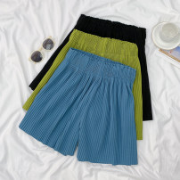 Women's large Summer 2021 Blue, green, black M [recommended 100-125 kg], l [recommended 125-150 kg], XL [recommended 150-175 kg], 2XL [recommended 175-200 kg] trousers singleton  commute easy thin Solid color Korean version other Three dimensional cutting Other / other pocket shorts