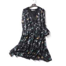 Dress Spring 2021 Black green S, M singleton  Long sleeves commute Crew neck Decor routine 25-29 years old Lace More than 95% other nylon