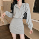 Women's large Autumn 2020 Black grey M L XL XXL Dress Two piece set commute Self cultivation thin Socket Long sleeves Korean version Hood other Mjlanlj / Milan 18-24 years old 31% (inclusive) - 50% (inclusive) Medium length Polyester 65% Cotton 30% polyurethane elastic fiber (spandex) 5% other zipper