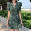 Women's large Summer 2020 green M L XL XXL Dress singleton  commute Self cultivation thin Socket Short sleeve Korean version Crew neck other Mjlanlj / Milan 18-24 years old 96% and above Middle-skirt Polyester 100% Pure e-commerce (online only)