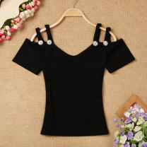 T-shirt Black, white Average size Summer 2020 Short sleeve V-neck Self cultivation have cash less than that is registered in the accounts routine commute other 51% (inclusive) - 70% (inclusive) Korean version Solid color Diamond inlaid, open back
