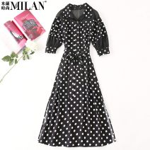 Dress Spring 2021 black and white S,M,L,XL Mid length dress singleton  Short sleeve commute Polo collar middle-waisted Dot Socket Big swing routine Others 25-29 years old Type A lady 51% (inclusive) - 70% (inclusive) other polyester fiber