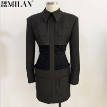 Dress Spring 2021 Army green, black S,M,L,XL Short skirt singleton  Long sleeves street Polo collar High waist Solid color Socket One pace skirt routine Others 25-29 years old Type H Folds, pockets, stitches, buttons 51% (inclusive) - 70% (inclusive) other polyester fiber Europe and America