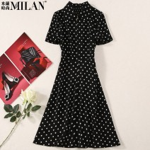 Dress Spring 2021 black S,M,L,XL Mid length dress singleton  Short sleeve commute Polo collar middle-waisted Dot Socket Big swing routine Others 25-29 years old Type A Ol style Satin printed dot + drill button O0520-1511 81% (inclusive) - 90% (inclusive) other polyester fiber