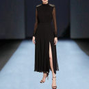Dress / evening wear Wedding, adulthood, party, company annual meeting, performance, routine, appointment S,M,L,XL black grace longuette middle-waisted Spring 2021 Self cultivation stand collar cambric 26-35 years old Long sleeves Nail bead Solid color routine 96% and above Crystal tube