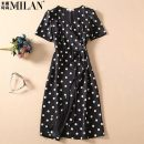Dress Autumn 2020 White dots on black background S,M,L,XL Middle-skirt singleton  Short sleeve commute V-neck middle-waisted Dot Socket A-line skirt routine Others 25-29 years old lady Lace up, Indo dot H0610-0811 More than 95% other polyester fiber