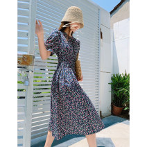 Dress Summer 2020 M, S longuette singleton  Short sleeve commute Crew neck Elastic waist Decor Socket Big swing puff sleeve Others 18-24 years old Type X Korean version Stitching, buttons, print More than 95% other polyester fiber
