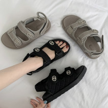 Sandals 35 36 37 38 39 40 Grey black upgrade grey upgrade black PU Jentina Barefoot Flat bottom Low heel (1-3cm) Summer 2021 Velcro Korean version Solid color Adhesive shoes Youth (18-40 years old) rubber daily Front and rear trip strap The Roman style of the platform Low Gang Lateral space PU PU