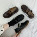 Low top shoes 35 36 37 38 39 Jentina Brown Black upgrade Brown upgrade black Round head PU Square heel Low heel (1-3cm) Midmouth cloth Summer 2021 Flat buckle solar system Adhesive shoes Youth (18-40 years old) Solid color rubber Single shoes Buckle waterproof platform cloth leisure time