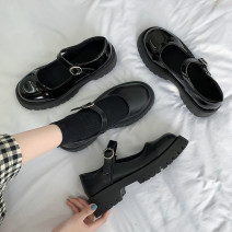 Low top shoes 35 36 37 38 39 40 Jentina Shiny black matte black shiny black upgrade matte black upgrade Round head PU Muffin bottom Middle heel (3-5cm) Shallow mouth cloth Summer 2021 Flat buckle solar system Adhesive shoes Youth (18-40 years old) Solid color rubber Single shoes cloth leisure time